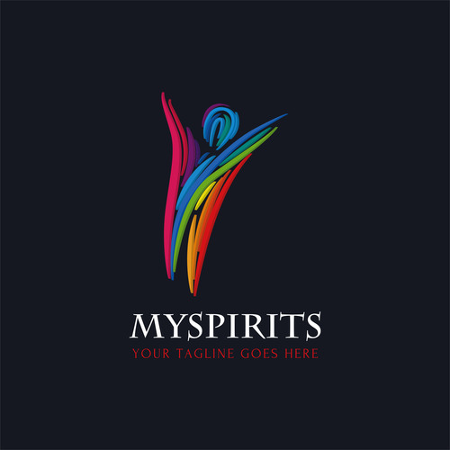 Watercolor spirits logo design vector