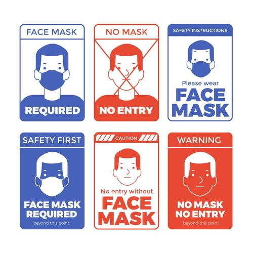 Wear a mask and not wear a mask logo vector