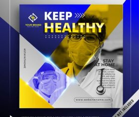 Wear a mask stay healthy banner promotion vector