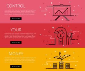 Web banner set control your money vector