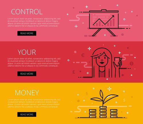 Web banner set control your money vector