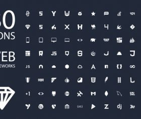 Web frameworks icon set vector