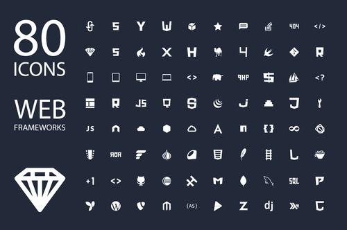 Web frameworks icon set vector