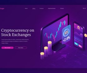 Web template cyptocurrency on stock exchanges vector