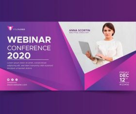 Webinar banner invitation template with photo vector