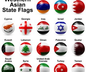 Western asian state spherical flags vector