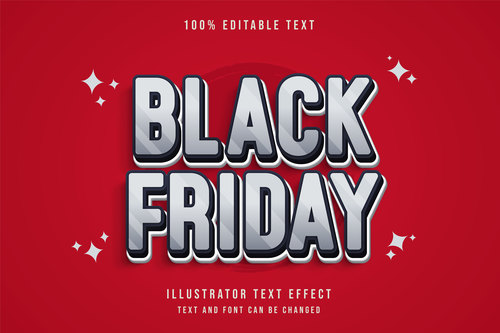 White editable font effect text vector on red background