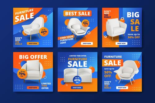 White furniture promotional flyer vector