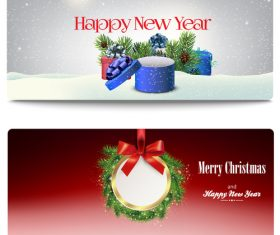 White red new year greeting card banner vector