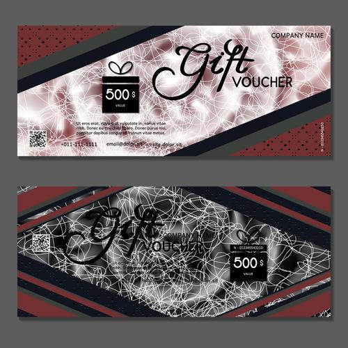 White silk thread background gift card voucher vector