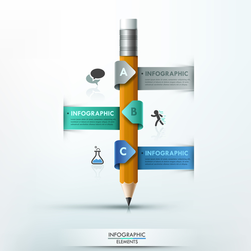 Winding pencil templates of Infographics vector