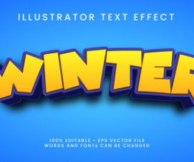Winter 3d editable text style effect vector
