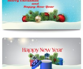 Winter christmas and new year greeting card banner vector