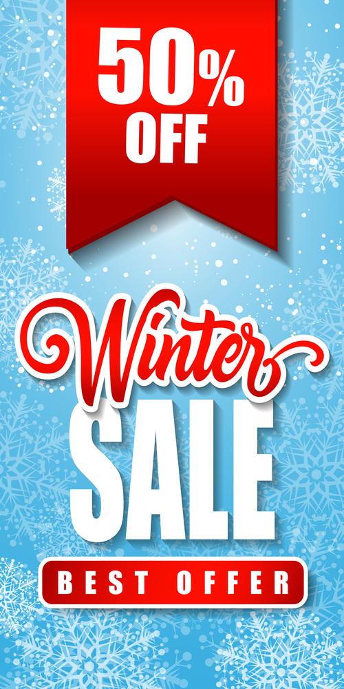 Winter sale inscription vector