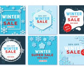 Winter sale instagram post pack vector