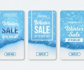 Winter sale instagram stories collection vector