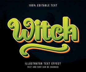 Witch 3d editable text vector