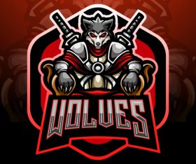 Wolves game mascot design vector
