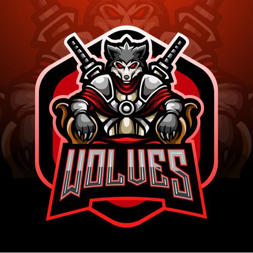 Wolves game mascot design vector