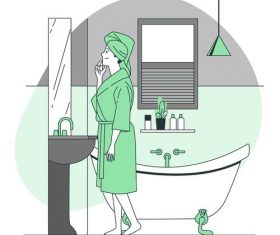 Woman in the bathroom cartoon illustration vector