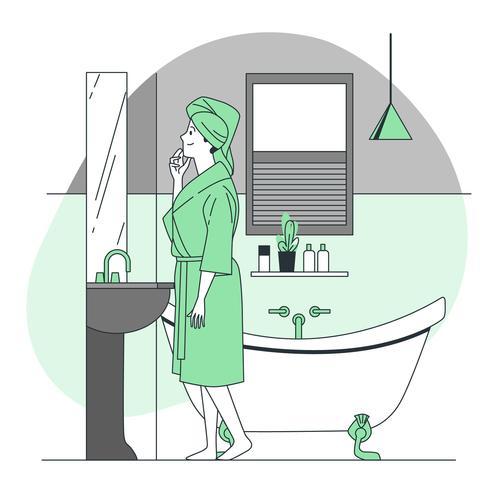 Woman in the bathroom cartoon illustration vector