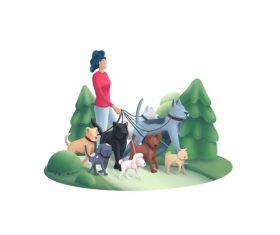 Woman walking dog cartoon vector