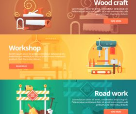 Wood craft flat banner set vector