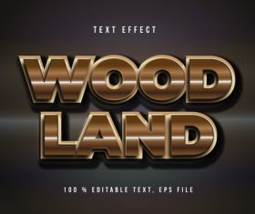 Wood land editable font effect text vector