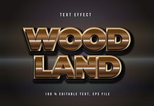 Wood land editable font effect text vector