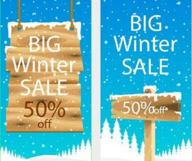 Wooden sign winter sales banner template vector