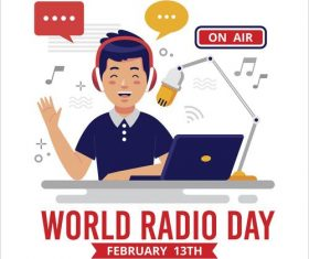 World Radio day background flat design illustration vector