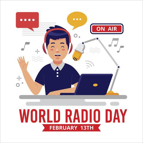 World Radio day background flat design illustration vector