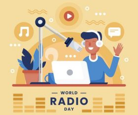 World radio day illustration vector