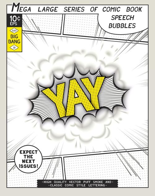 YAY comic bang vector