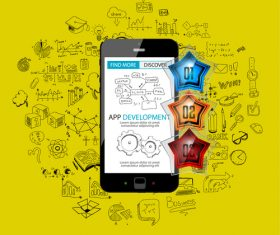Yellow background app development cell information vector