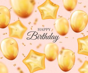 Yellow balloon background birthday invitation card vector