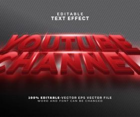 Youtube channel text effect vector