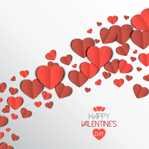 valentine card with paper heart vector