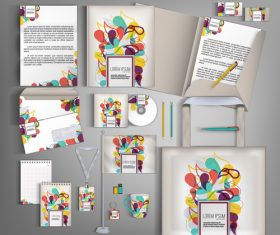 Abstract art cover corporate stationery collection vector