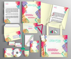 Abstract cover corporate identity stationery collection vector