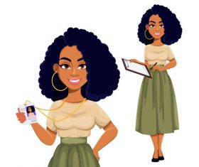 African american business woman cartoon vector