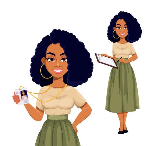 African american business woman cartoon vector
