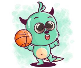Animal playing basketball illustration vector