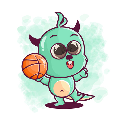 Animal playing basketball illustration vector