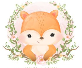 Animals in flower frame watercolor illustration vector