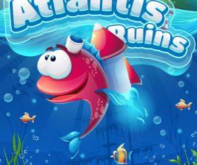 Atlantis ruins interface design vector