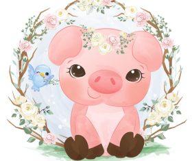 Baby pig in flower frame vector