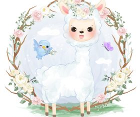 Baby sheep in flower frame vector