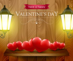 Backgrounds with hearts and lanterns for valentines day in vector