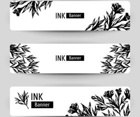 Banners with floral design vector
